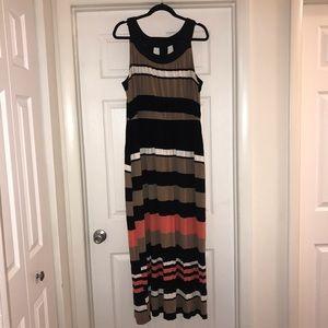 Black, Khaki, White and Peach Maxi Dress